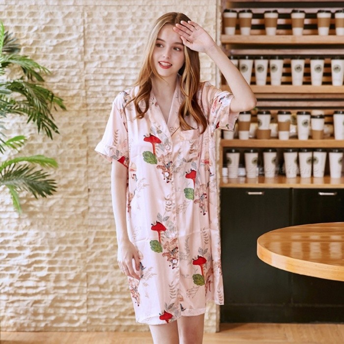 High Quality Women Short Sleeve Silk Satin Pajamas Women Casual Tracksuits Lady's Sleepwear Pajamas Dress SQ796 Pink/M