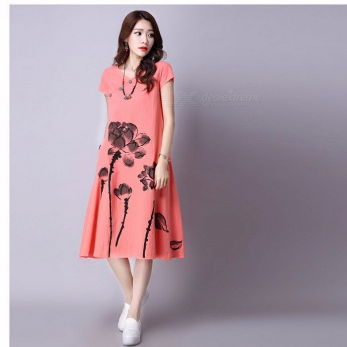 Summer Ink Print Women Dress Retro Short Sleeve Cotton Linen Designs Midi Dresses Casual Vacation Dresses Sky Blue/M