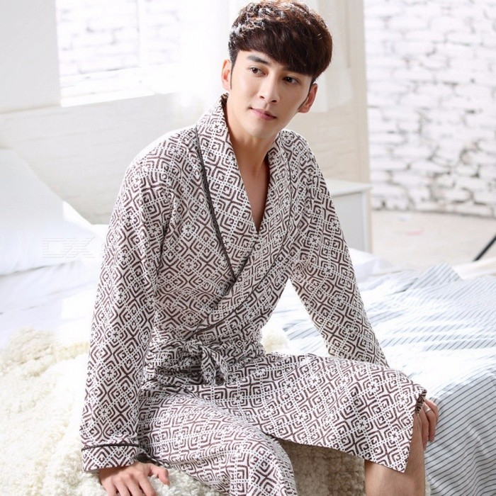 Men Autumn 100% Cotton Long-Sleeve Bathrobes Bath Robe Loose Medium Long Loungewear Sleepwear Nightgown Pajama Caffee/L