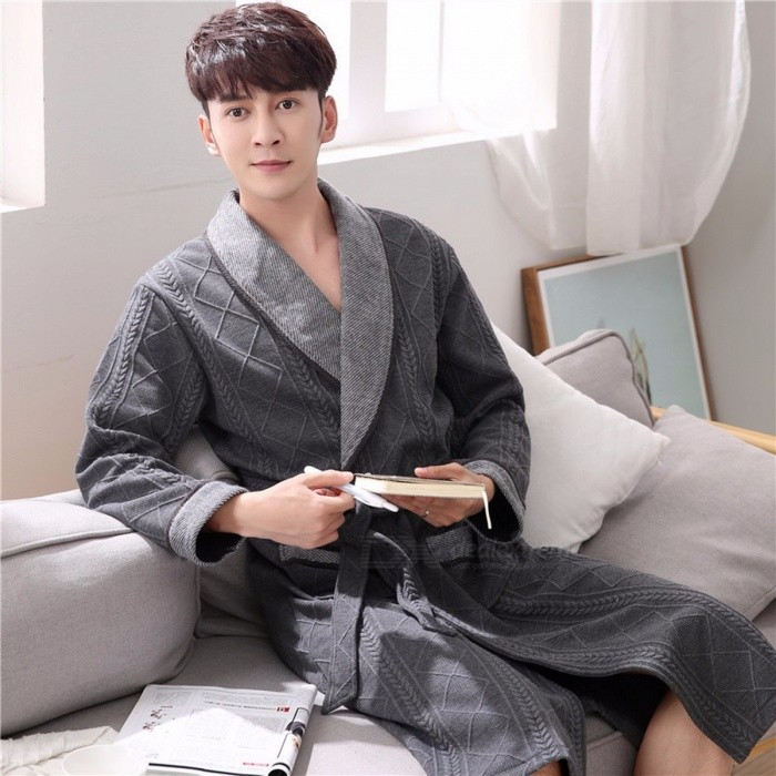 Men Autumn Winter 100% Cotton Thick Long-Sleeve Bathrobes Bath Robe Loose Medium Long Loungewear Nightgown Pajama Dark Grey/M