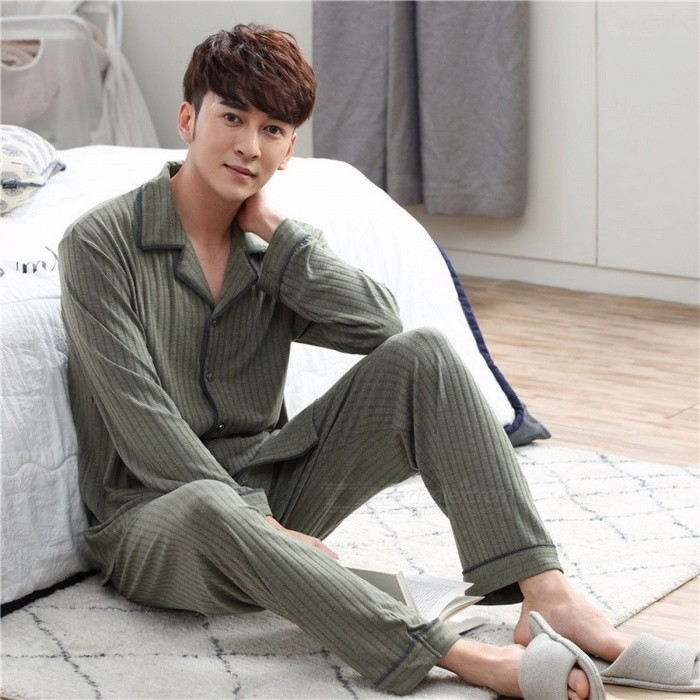 Men's Pajamas Striped Long Sleeve Top + Pants Trousers Set Simple Middle-aged Dad Loose Autumn Home Clothing Army Green/M