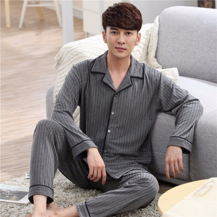 Men\'s Pajamas Striped Long Sleeve Top + Elastic Pants Set Simple Loose Autumn Home Clothing Dark Grey/M