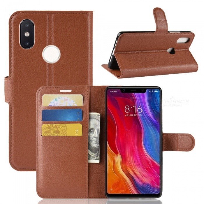 Naxtop Phone Wallet Flip Leather Holder Cover Case for Xiaomi Mi 8 SE - Brown