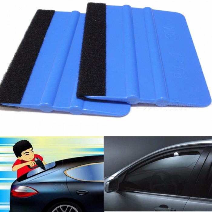1PCS Car Vinyl Film Wrapping Tools Blue Scraper Squeegee With Felt Edge Size 12*7cm Car Styling Stickers Accessories