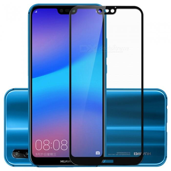 Naxtop 2.5D Full Screen Coverage Tempered Glass Protector for Huawei P20 lite/Nova 3e - Black