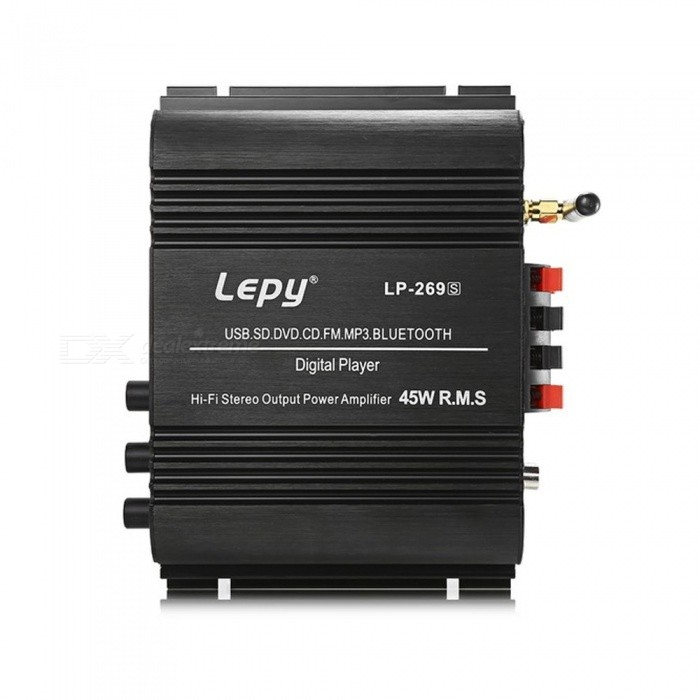 Lepy LP-269S HiFi Digital Stereo Amplifier, 2-Channel Powerful Sound, Compatible With Car Motorcycle Computer Speaker Black