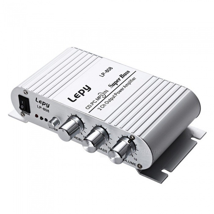 Lepy LP - 808 12V Mini HiFi Super Bass Amplifier For Mobile Phone MP3 PC With Volume Control, Wall Charger Silver