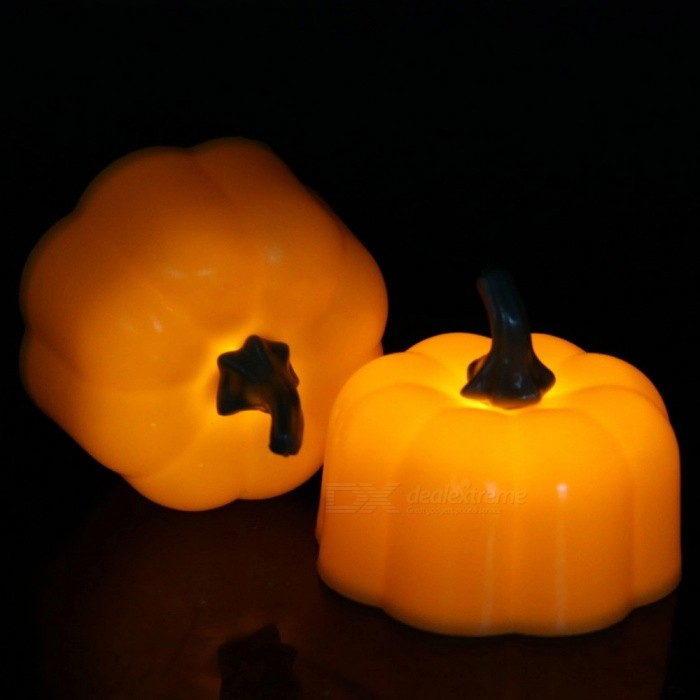 12Pcs Battery Powered LED Pumpkin Candle Night Light, Cute Electronic Candle For Halloween Party Bar Home Decoration Yellow/Orange