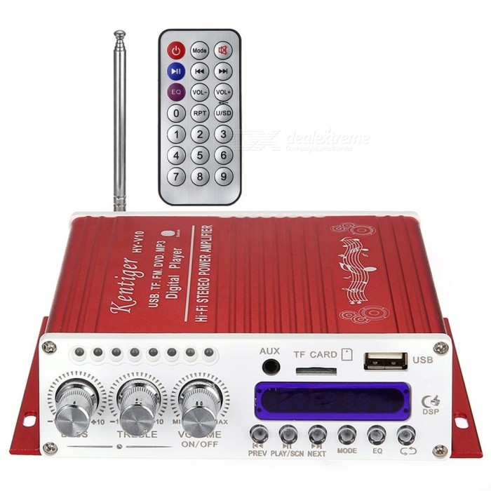Kentiger V10 Bluetooth Hi-Fi Class-AB Stereo Super Bass Audio Power Amplifier W/ Remote Controller - Red Red