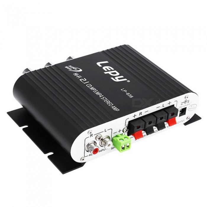 Lepy LP-838 Power Amplifier, Hi-Fi 2.1CH MP3 Radio Audio Stereo Bass Speaker Booster Player For Car Motorbike Home Black