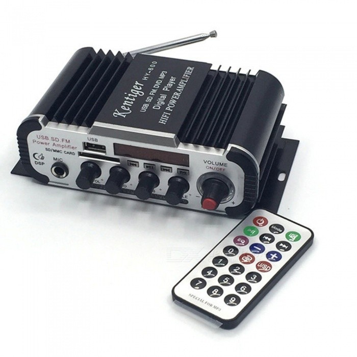 Mini Karaoke Amplifier With 6.5mm Mic In Port, DC 12V USB / SD MP3 Player DAC FM Radio Power Amplificador Black