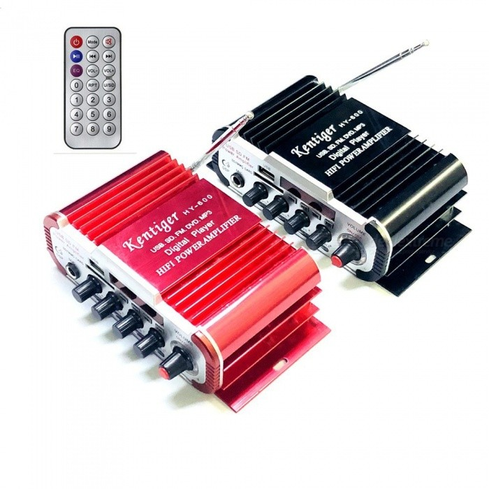 Mini Karaoke Amplifier With 6.5mm Mic In Port, DC 12V USB / SD MP3 Player DAC FM Radio Power Amplificador Red