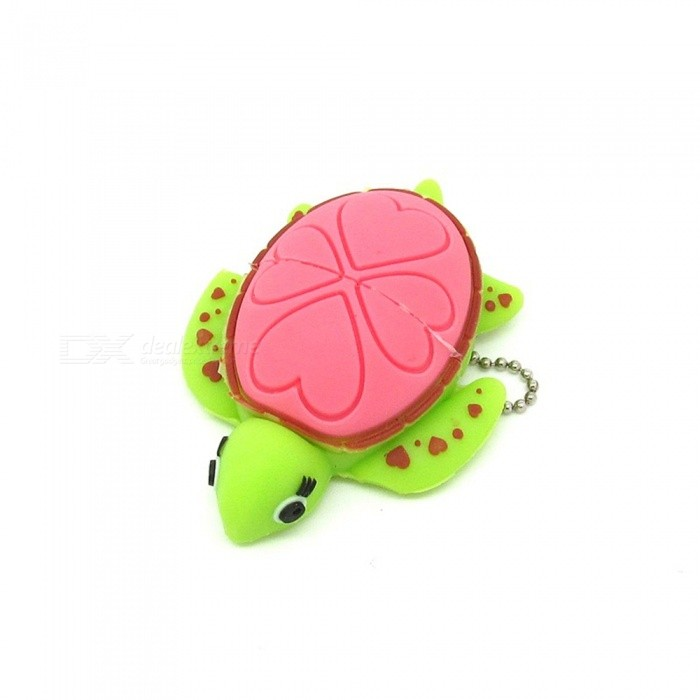 Maikou Cartoon Love Heart Turtle Style USB 2.0 Flash Drive - Pink + Green (8GB  16GB  32GB  64GB)