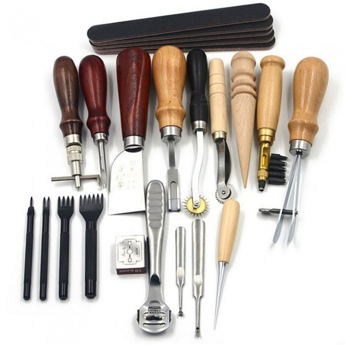 ESAMACT Leather Craft Punch Tools Kit, Stitching Carving Working Sewing Saddle Groover