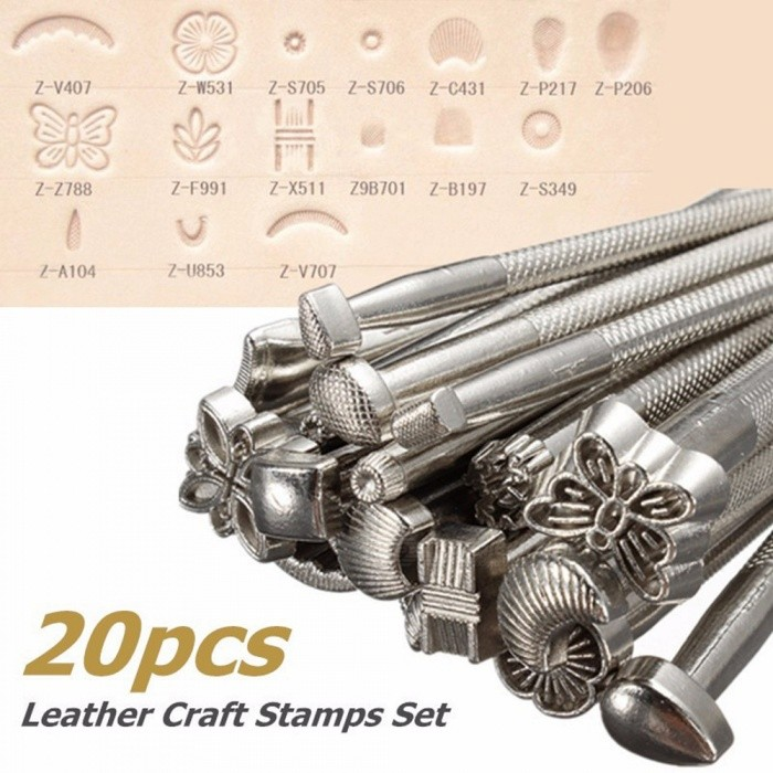ESAMACT DIY Alloy Metal Leather Working Saddle Making Tools Set Carving Leather Craft Stamps Set Leathercraft Staming  Metal