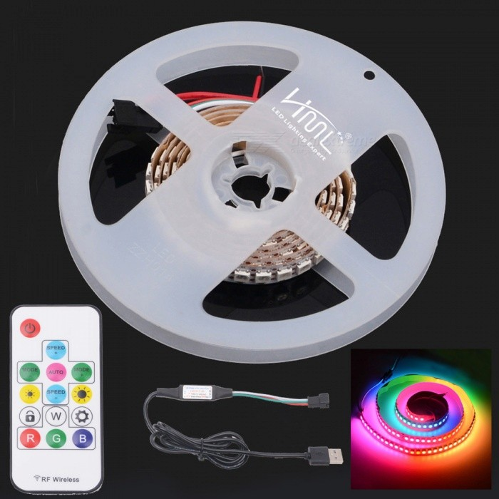 HML 1m 5V WS2812B 5050SMD 144-LED RGB Dream Color LED Strip Light with 14-Key RF USB Remote Control