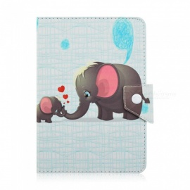 SZKINSTON Intimate Elephant Family Luxury Pattern PU Leather Case for 7.0 ~ 8.1 Inch Flat Tablet PC - Yellow + Green