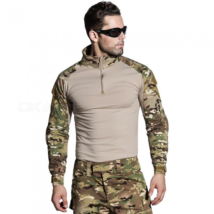 b4183b0a7 ESAMACT Military Uniform Multicam Army Combat Shirt Uniform Tactical Pants  With Knee Pads Camouflage Suit Hunting Clothes (S)