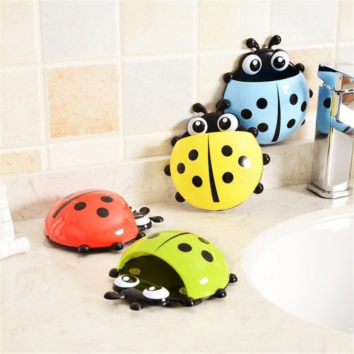 Ladybug Toothbrushes Holders Toiletries Toothpaste Holder Bathroom Sets Suction Hooks Tooth Brush Container Ladybird