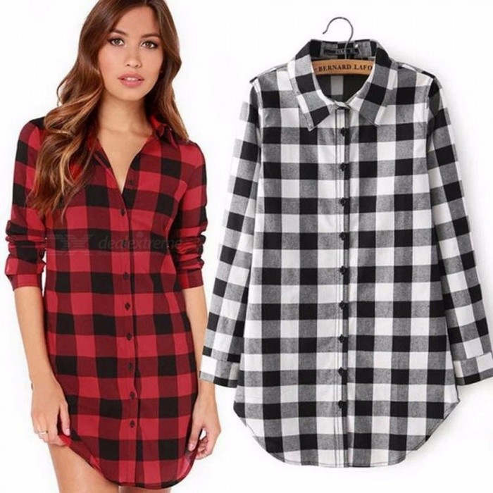 Autumn  Winter New Women\'s Shirt Casual Medium Long Lapel Long-Sleeve Plaid Large Size Thin Section T-Shirt Black/M