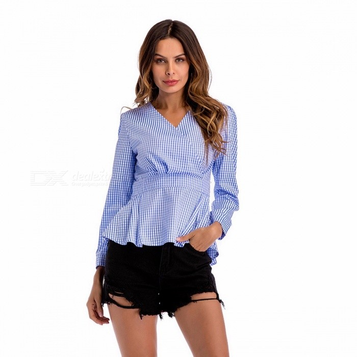Plaid Blouse Shirt Fashion Brand Women Cotton  Clothes Ruffles Long Sleeve V-Neck Casual  T Shirts Black/S