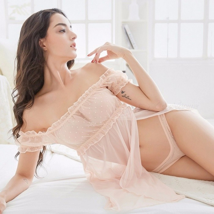 High-End Quality Transparent Sexy Nightgown Off Shoulder Dress With Sexy Underwear  Women Briefs Erotic ... 4aed7b5c6f7