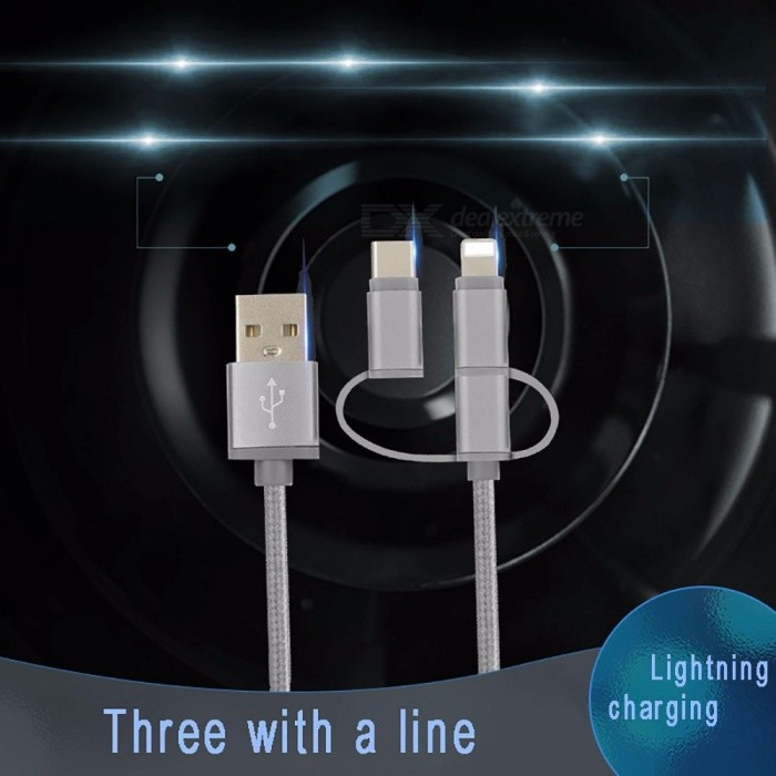 Durable Nylon Braided USB To USB 3.1 Type-C / Lightning / Micro USB 3-in-1 Charging Data Cable For LETV, Xiaomi Phones
