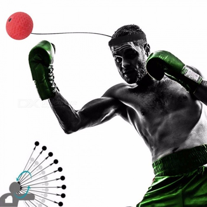 Elasticity Head Band Wearing Training Speed Ball, Quick Punching Fight Ball, Muay Thai Trainer Super Striker Red