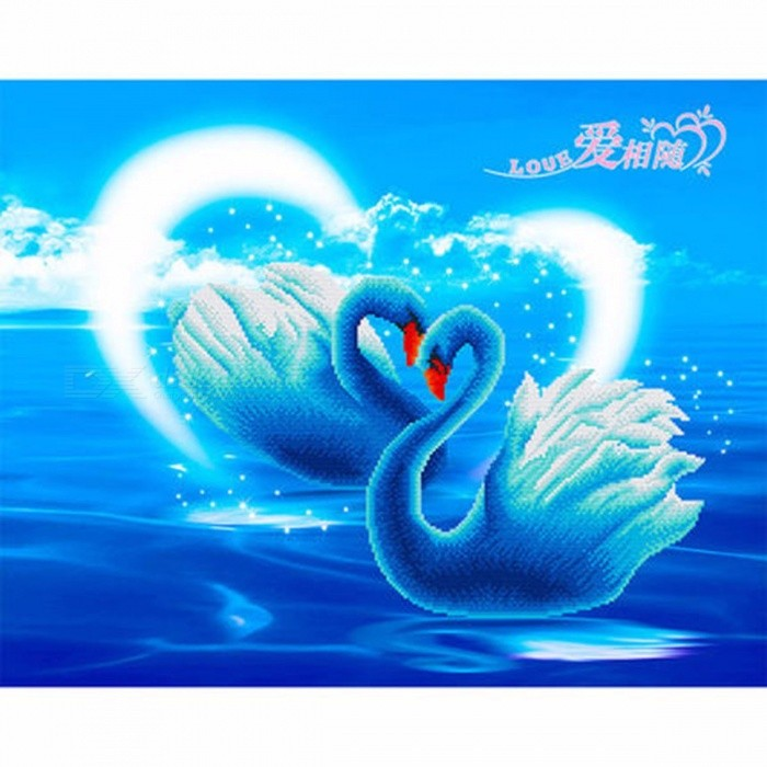 30x36cm Swan Lake Diamond Embroidery Painting, Frameless Wall Calligraphy For Home Decoration, Unique Gift Blue