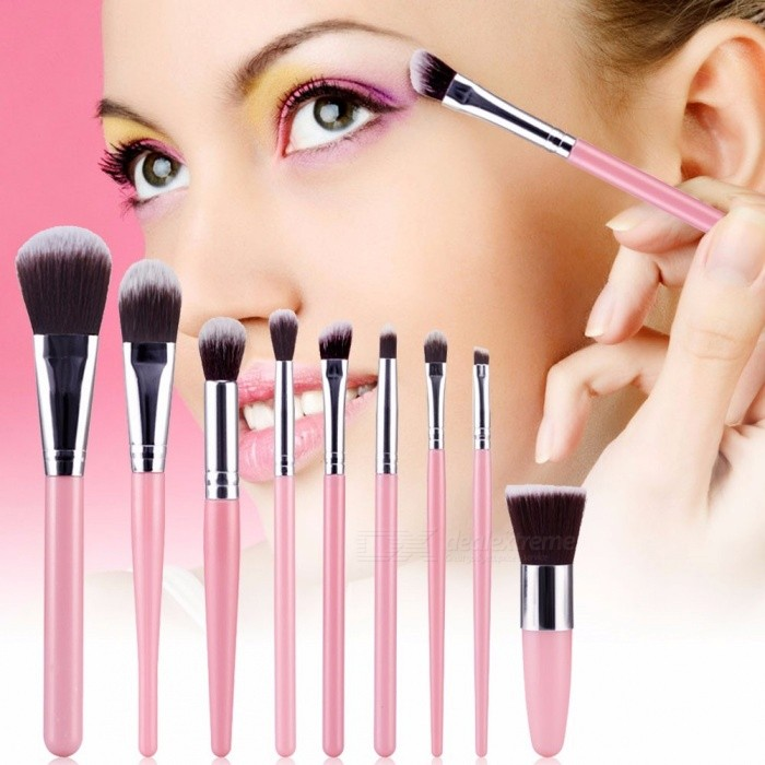 9Pcs Soft Synthetic Hair Makeup Brushes Tool Kit, Make Up Cosmetic Brush For Lady Multi-Color