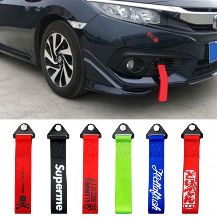 Universal Unique Towing Rope, Racing Car Tow Strap, High Strength Nylon JDM Bumper Trailer Tow Hook Rope - DRIFT