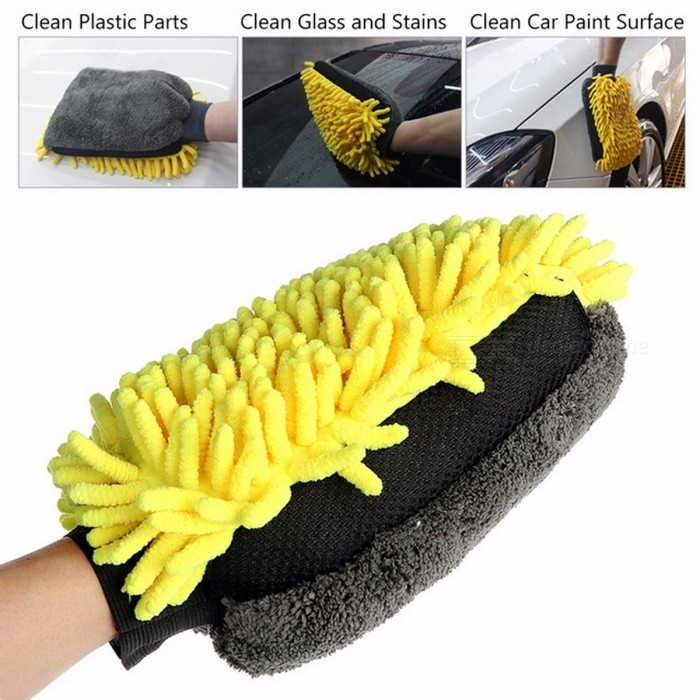 Multi-function 3 In 1 Car Washing Gloves Car Cleaning Wax Brush Microfiber Chenille Auto Care Waterproof Glove One Size/Yellow