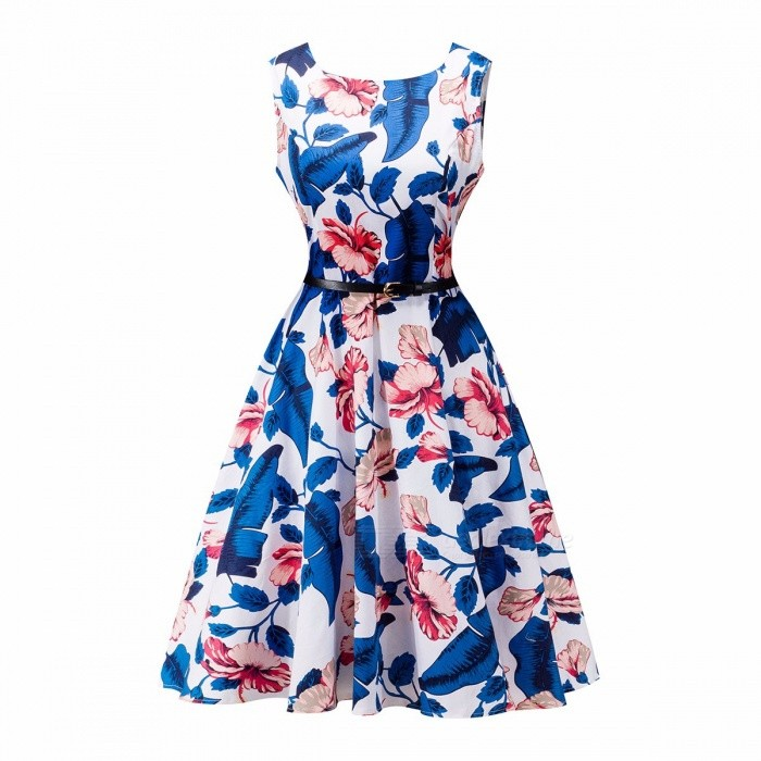 Floral Print Women Summer Dress Hepburn Style Vintage Swing Dress A-Line Multicolor Party Dresses