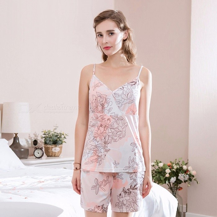 2018 New Women Sexy Summer Pajamas Bamboo Fiber Sleeveless V-Neck Print  With Two Piece Suit White/M