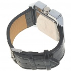 Stylish PU Leather Wristband + Metal Dial Wrist Watch - Black + Silver (1*377)