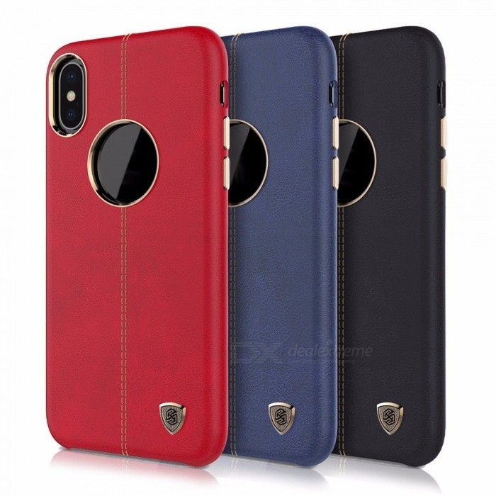 NILLKIN Protective PU Leather Back Cover Case For IPHONE X Cell Phone Cover Shell Red/Leather