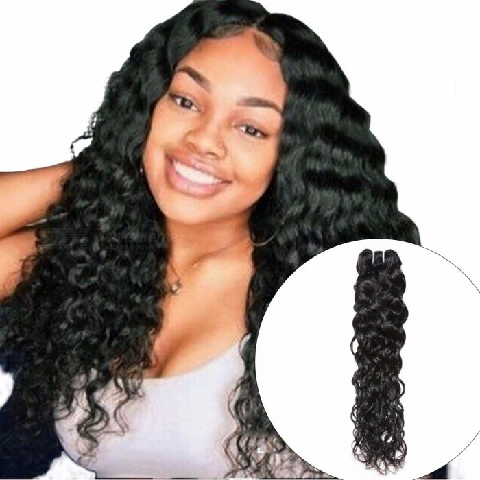 Indian Human Hair Water Wave Hair Weave Bundle, Natural Color Non Remy Hair Extension, Can Be Dyed 1Pc Hair Bundle 28inches