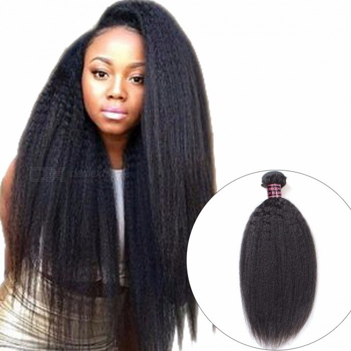 Malaysian-Human-Hair-Kinky-Straight-Hair-Weave-Bundle-1-Piece-Natural-Color-Non-Remy-Yaki-Human-Hair-Extension-28inches