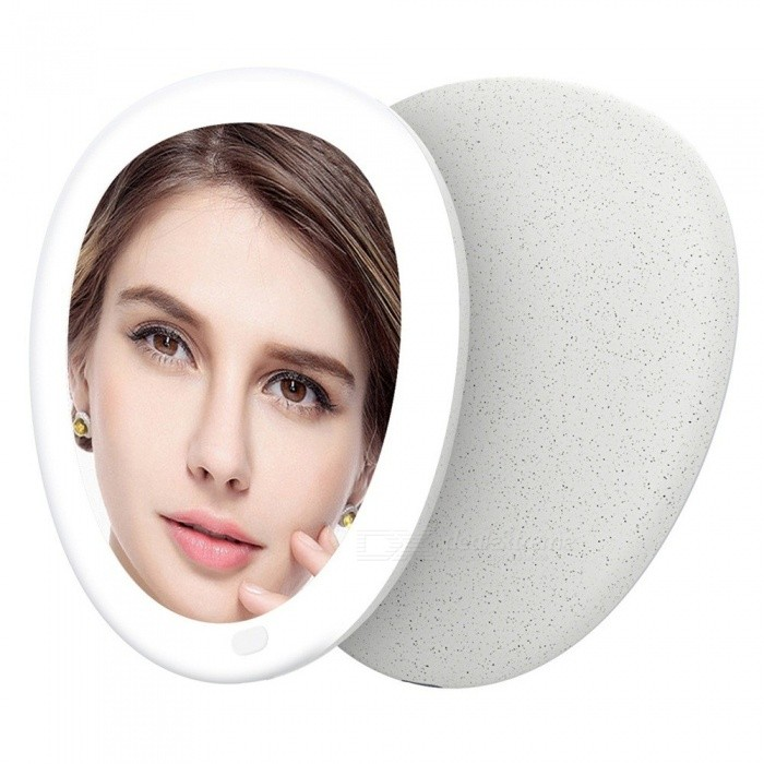 Buy Creative Pebble Style USB Rechargeable Makeup Mirror Professional Vanity Mirror Light Small Mirror Desk Lamp Light Grey/Natural Light with Litecoins with Free Shipping on Gipsybee.com