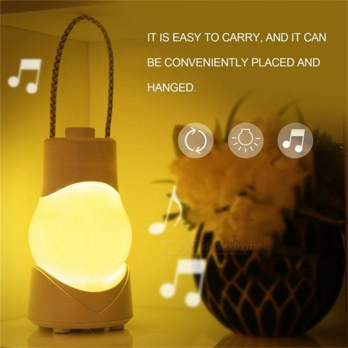 Music Creative LED Night Light Portable Hanging Lamp USB Rechargeable Dimmable Desk Lamp With Music Box Emergency Light White/White