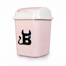 Cute Rolling Cover Type Rectangular Standing Waste Bin Garbage Basket Home Office Kitchen Trash Cans Pink