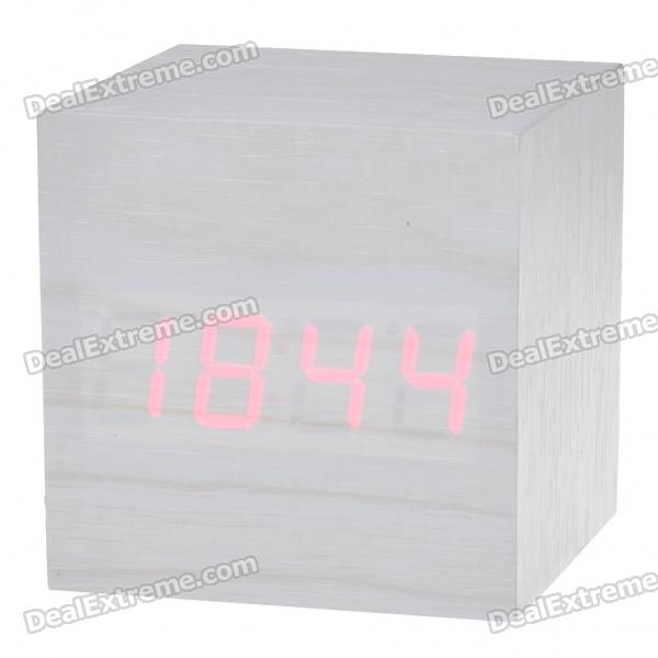 Wooden Desktop Red-LED Alarm Clock with Thermometer (4*AAA/USB Powered)
