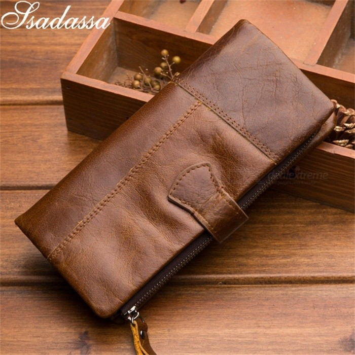 Ssadassa Genuine Leather Solid Multifunction Men Wallet Casual Standard High Capacity Wallets Coffee
