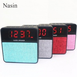 T1 Fabric Wireless Portable Bluetooth Speaker W/ Alarm Clock, Radio, MP3 Player, USB Speaker For Phone Computer Black/Speaker