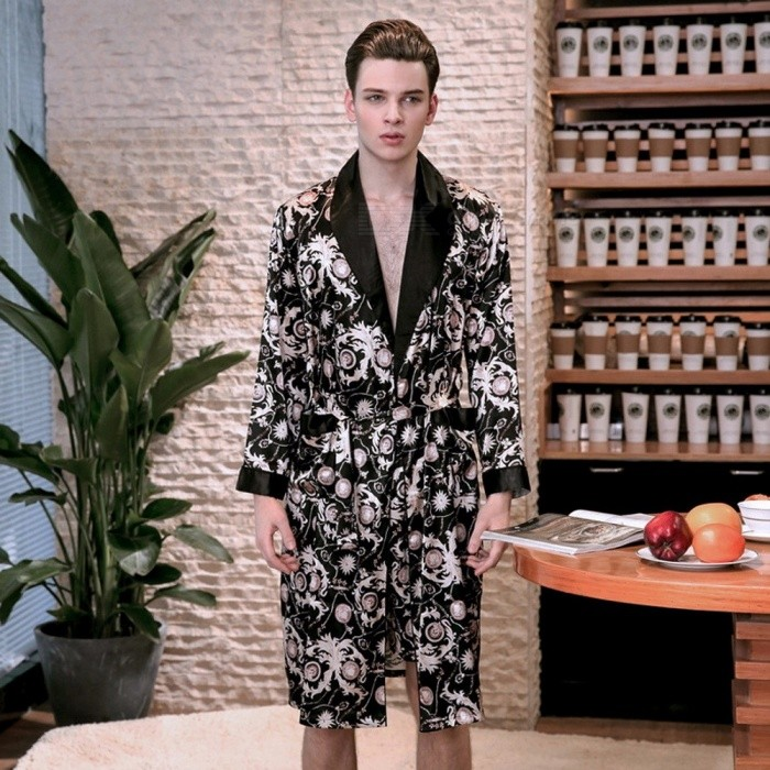 Spring Summer Long-sleeved Print Turn-down Collar Silk Satin Robe Men's Bathrobe Nightgown Home Pajamas WP777 Black/L