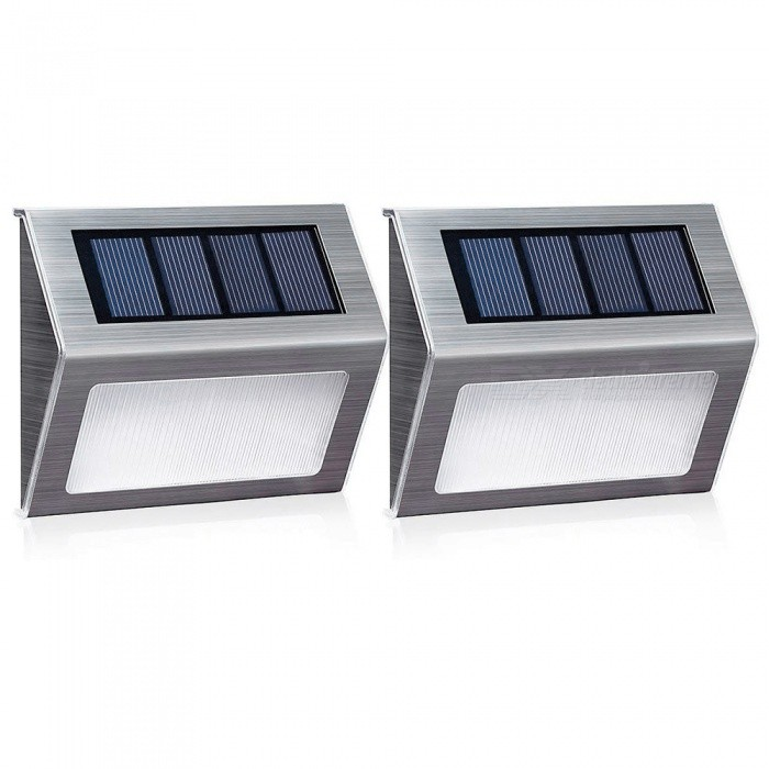 YouOKLight Warm White Solar Light, Outdoor Stainless Steel LED Solar Step Light; Illuminates Stairs, Deck, Patio, Etc (2PCS)
