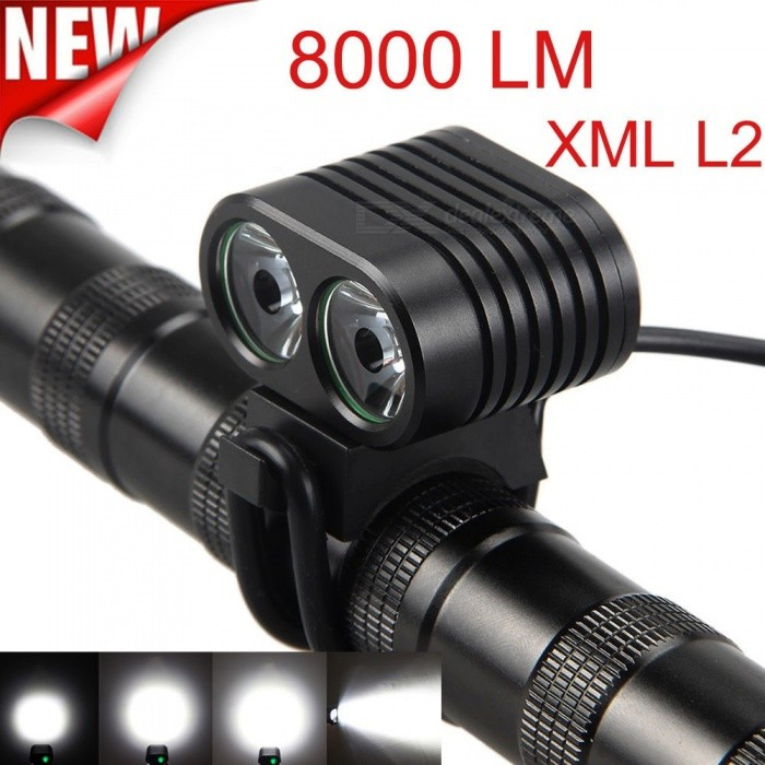 Bicycle Accessories Laser Bike Flashlight Headlamp 1200LM 2x CREE XML 2 LED Cycling Front Bicycle Bike Light Headlight Black