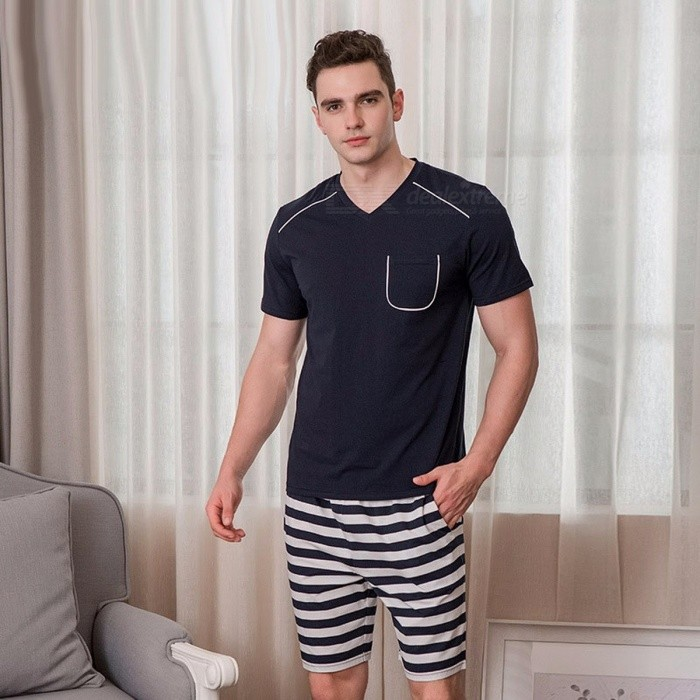 Short-sleeve | Pajamas | T-Shirt | Bottom | Pajama | Summer | Cotton | Short | Neck | Men | Set