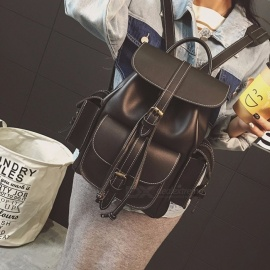 Fashion-Retro-Style-PU-Leather-Large-Backpack-Bag-With-Two-Side-Pockets-For-Students-Girls-Lady-Black