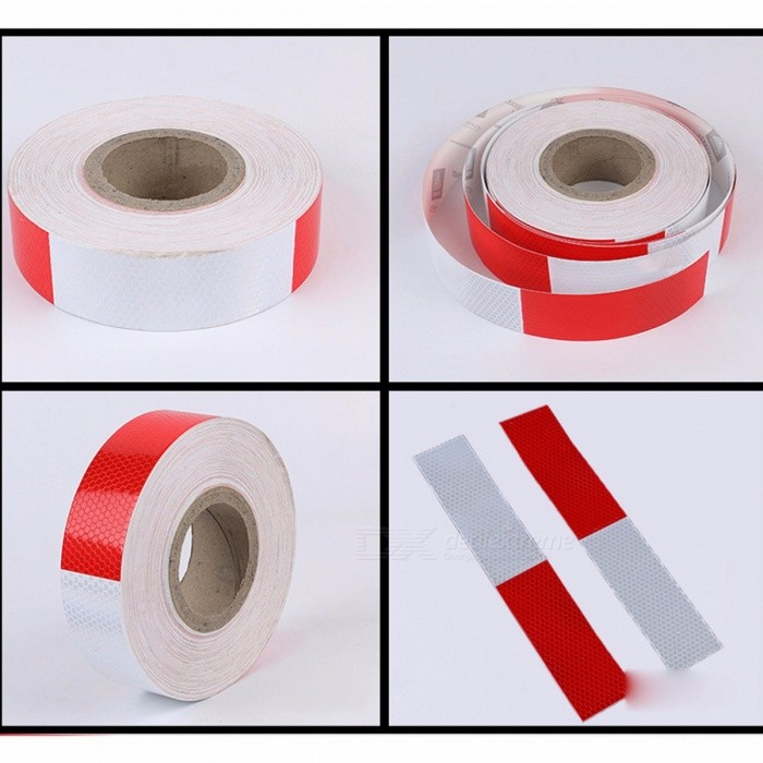 35m*5cm Red And White Bodywork Reflective Tape, Vehicle Reflective Safety Warning Tape Fim Sticker, Reflective Strip Multi